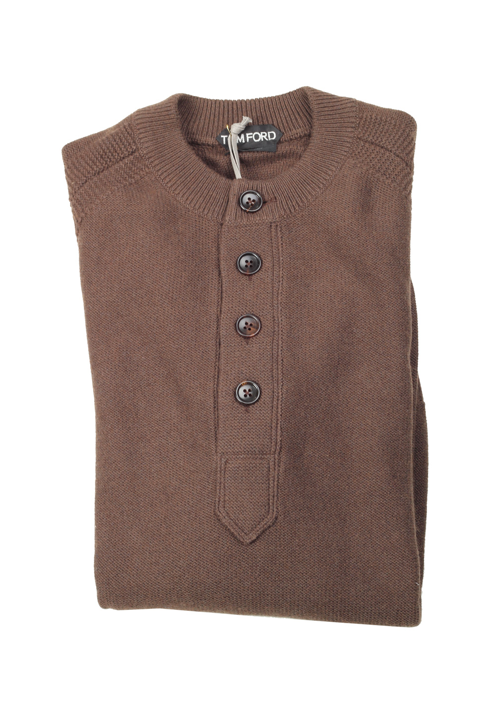TOM FORD Brown Long Sleeve Henley Sweater Size 48 / 38R U.S. In Silk Cashmere Blend | Costume Limité