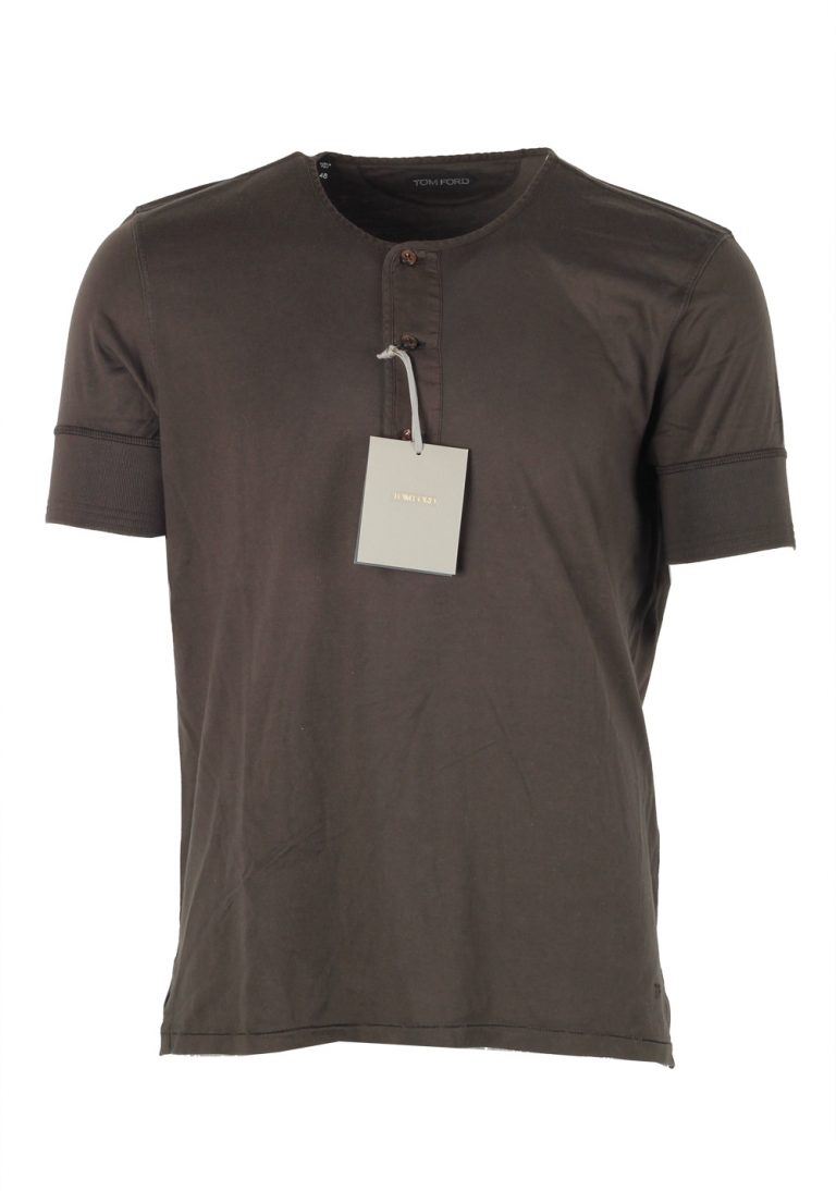 TOM FORD Green Short Sleeve Henley T-Shirt Size 48 / 38R U.S. In Cotton - thumbnail | Costume Limité