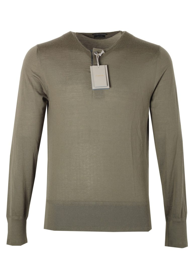 TOM FORD Green Long Sleeve Henley Sweater Size 48 / 38R U.S. In Cashmere - thumbnail | Costume Limité