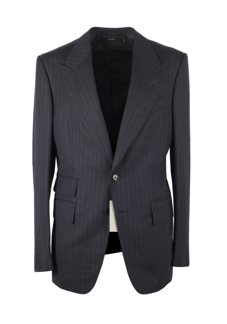 TOM FORD Shelton Striped Blue Suit Size 48 / 38R U.S. In Wool - thumbnail | Costume Limité
