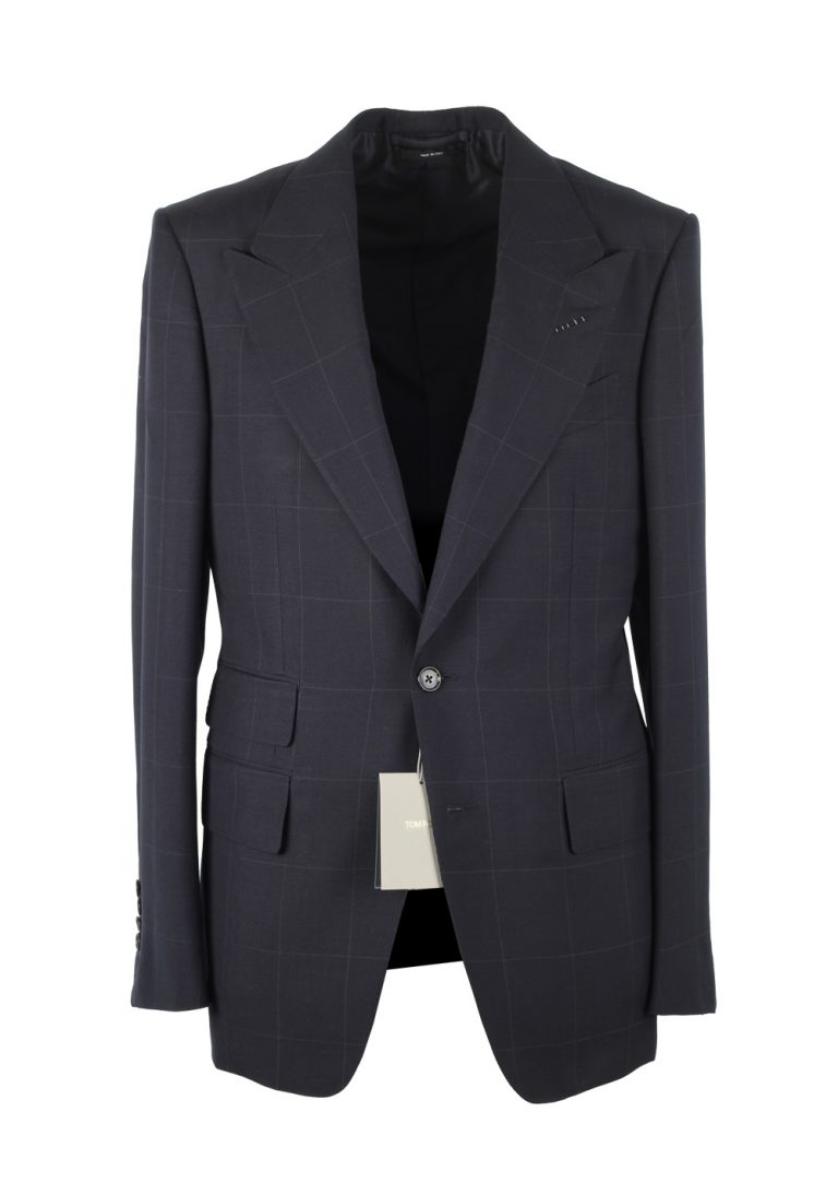 TOM FORD Shelton Checked Blue Suit Size 48 / 38R U.S. In Wool Mohair - thumbnail | Costume Limité