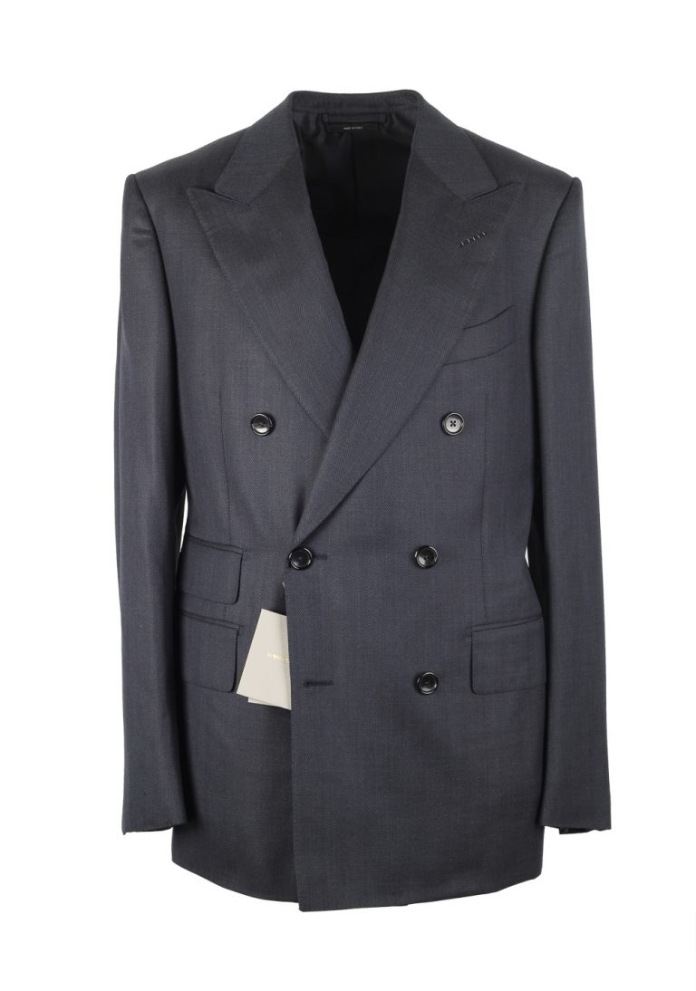 TOM FORD Shelton Double Breasted Blue Suit Size 48 / 38R U.S. In Wool - thumbnail | Costume Limité