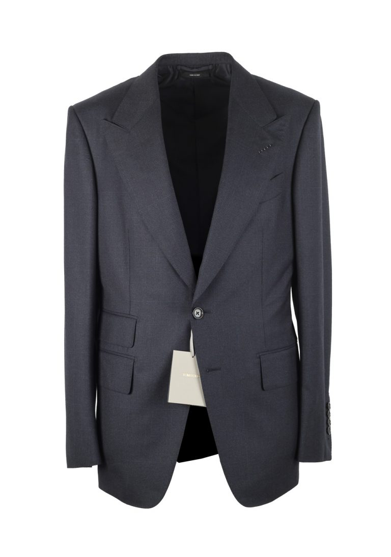TOM FORD Shelton Checked Blue Suit Size 48 / 38R U.S. In Wool - thumbnail | Costume Limité