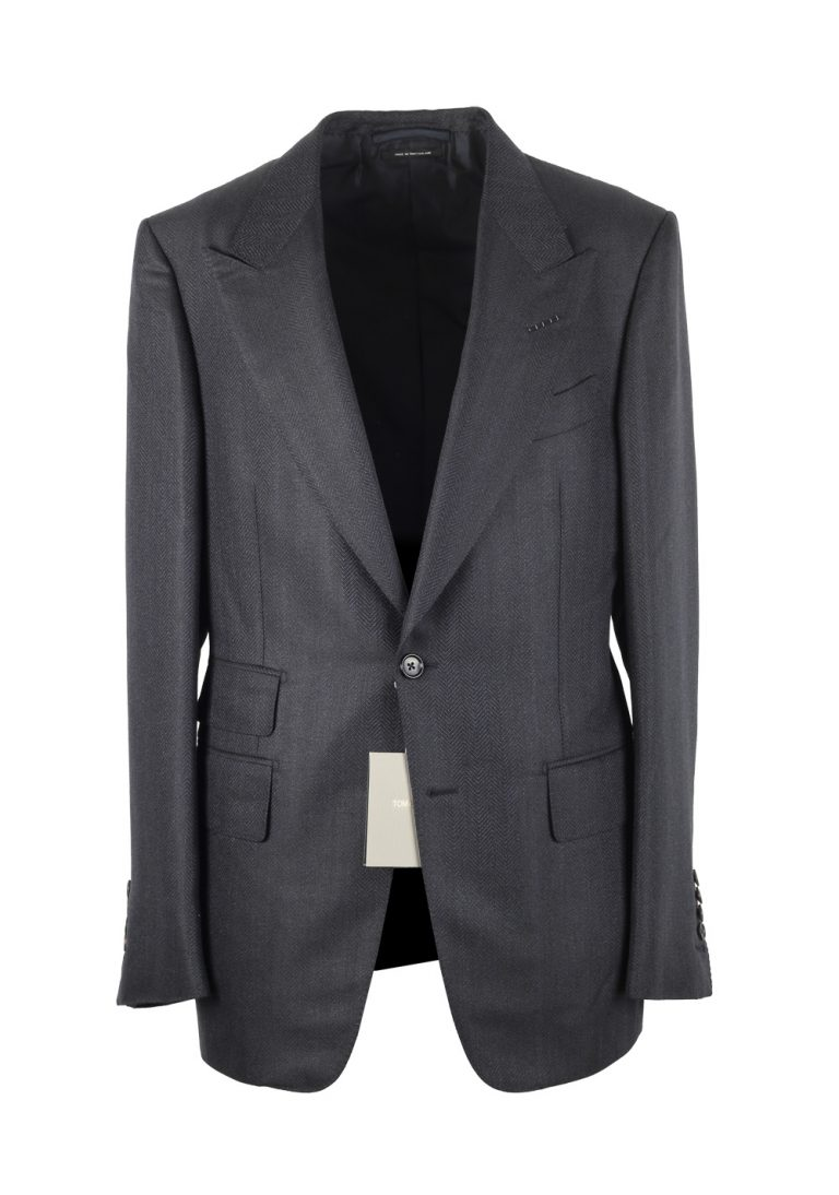 TOM FORD Shelton Blueish Gray Suit Size 48 / 38R U.S. In Mohair Wool - thumbnail | Costume Limité