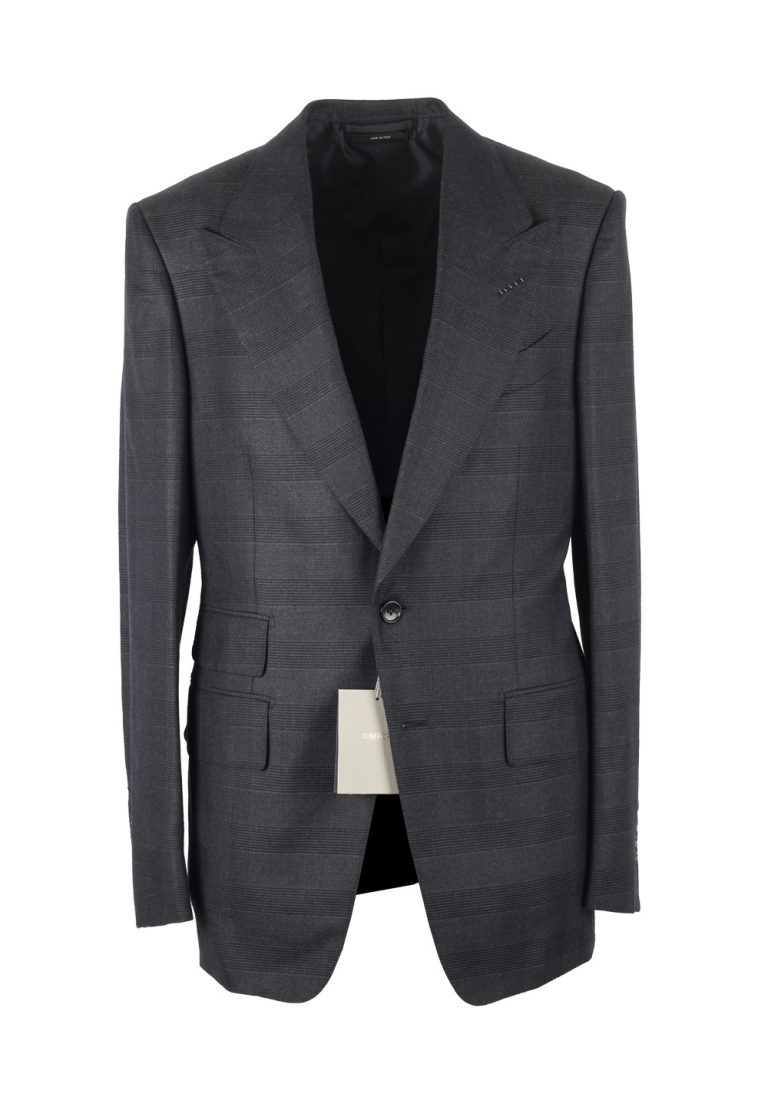 TOM FORD Shelton Checked Blueish Gray Suit Size 48 / 38R U.S. In Wool Silk - thumbnail | Costume Limité