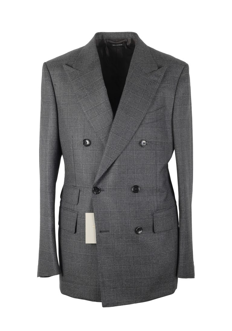 TOM FORD Shelton Checked Double Breasted Gray Suit Size 48 / 38R U.S. In Mohair Wool - thumbnail | Costume Limité