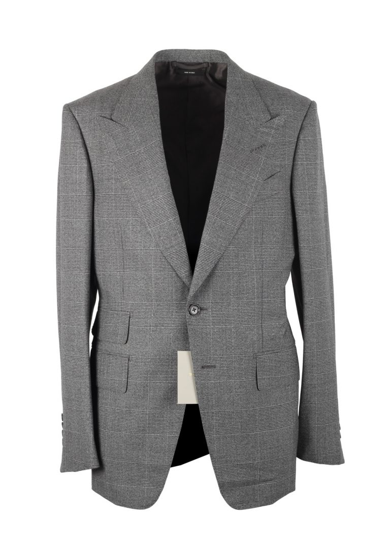 TOM FORD Shelton Checked Gray Suit Size 48 / 38R U.S. In Wool - thumbnail | Costume Limité
