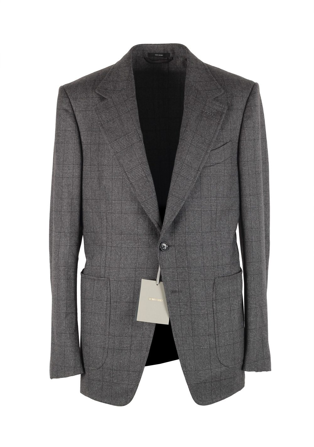 TOM FORD Shelton Checked Gray Sport Coat Size 48 / 38R U.S. In Wool | Costume Limité