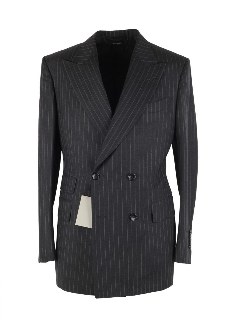TOM FORD Shelton Double Breasted Striped Gray Sport Coat Size 48 / 38R U.S. In Wool - thumbnail | Costume Limité