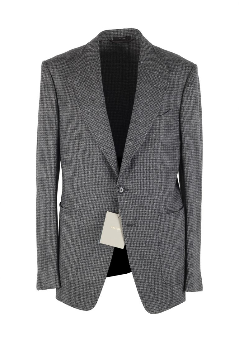 TOM FORD Shelton Checked Gray Sport Coat Size 48 / 38R U.S. In Wool Alpaca Cashmere - thumbnail | Costume Limité