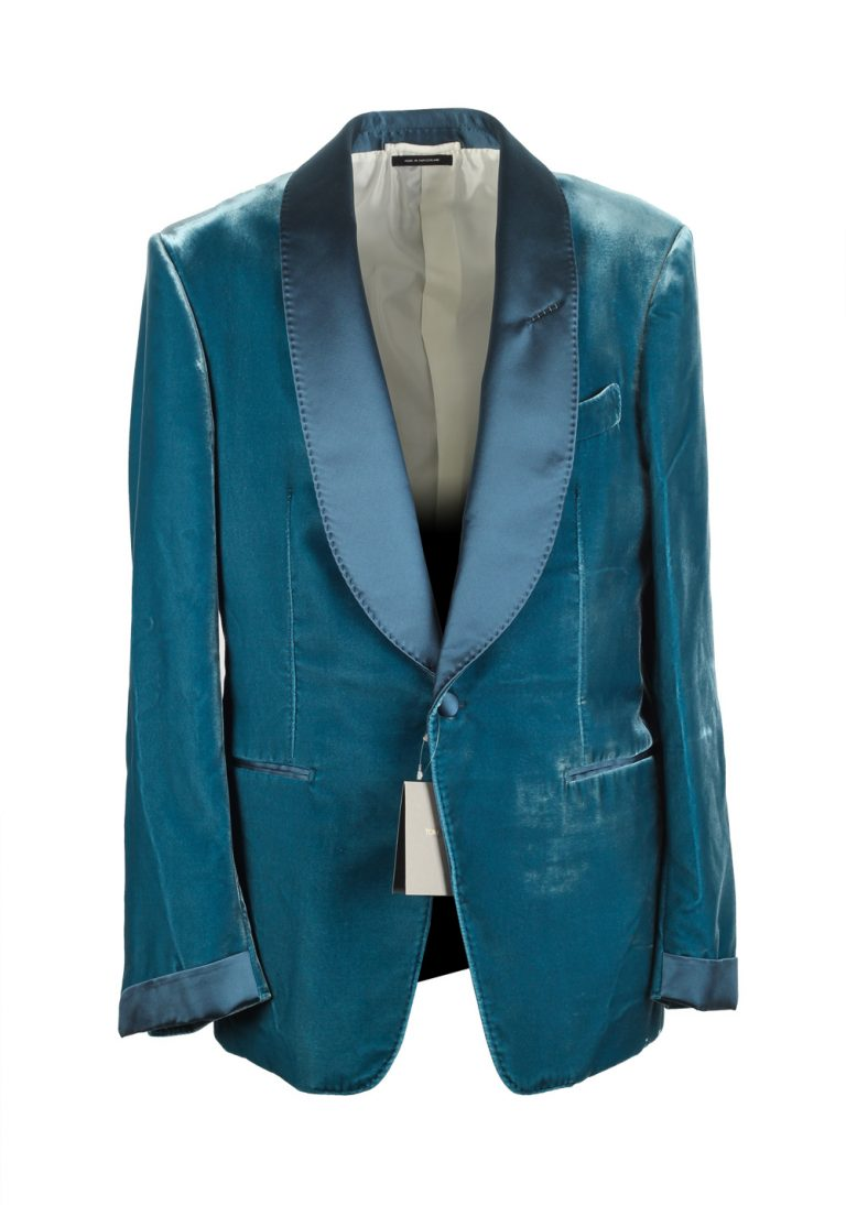 TOM FORD Shelton Shawl Collar Velvet Teal Sport Coat Tuxedo Dinner Jacket Size Size 50 / 40R U.S. - thumbnail | Costume Limité