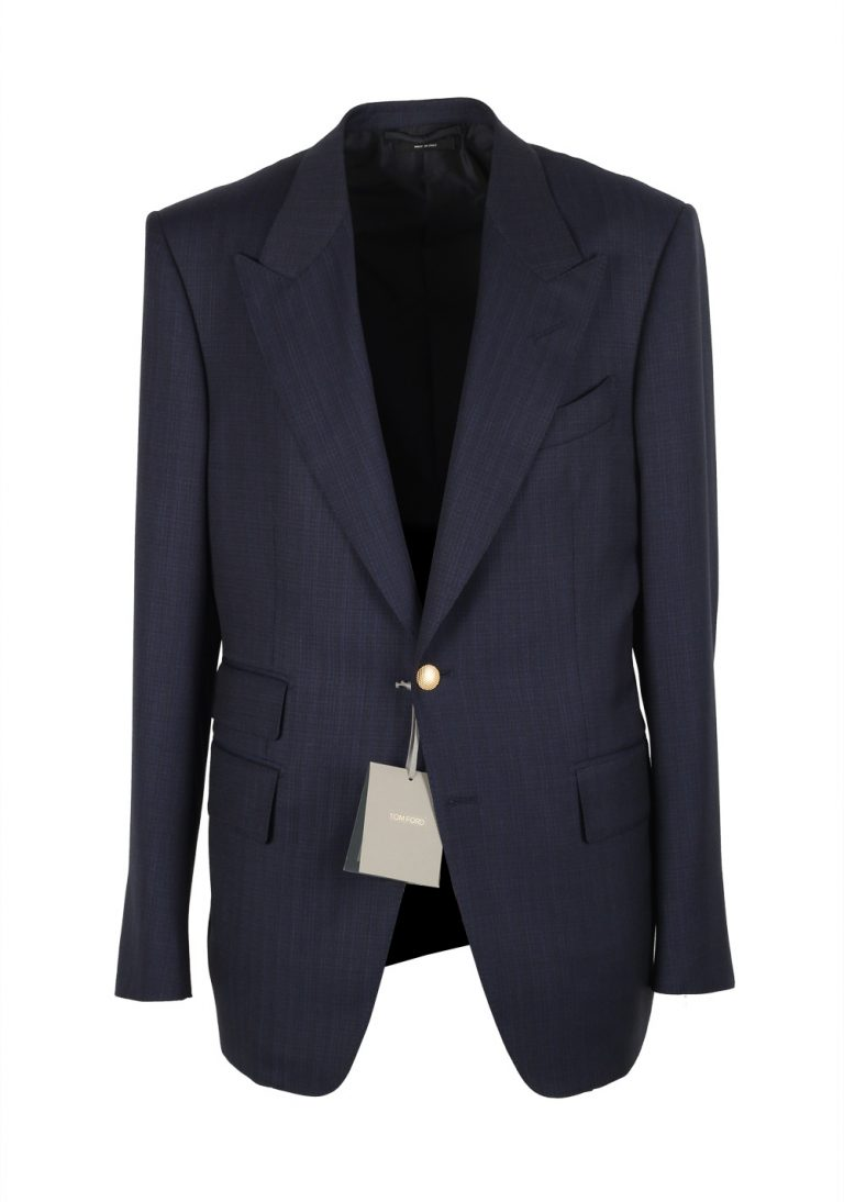 TOM FORD Shelton Blue Gold Buttons Sport Coat Size 50 / 40R U.S. Wool - thumbnail | Costume Limité
