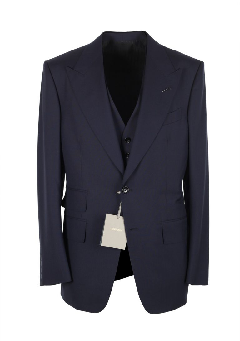 TOM FORD Windsor Blue 3 Piece Suit Size 46 / 36R U.S. Wool Fit A - thumbnail | Costume Limité