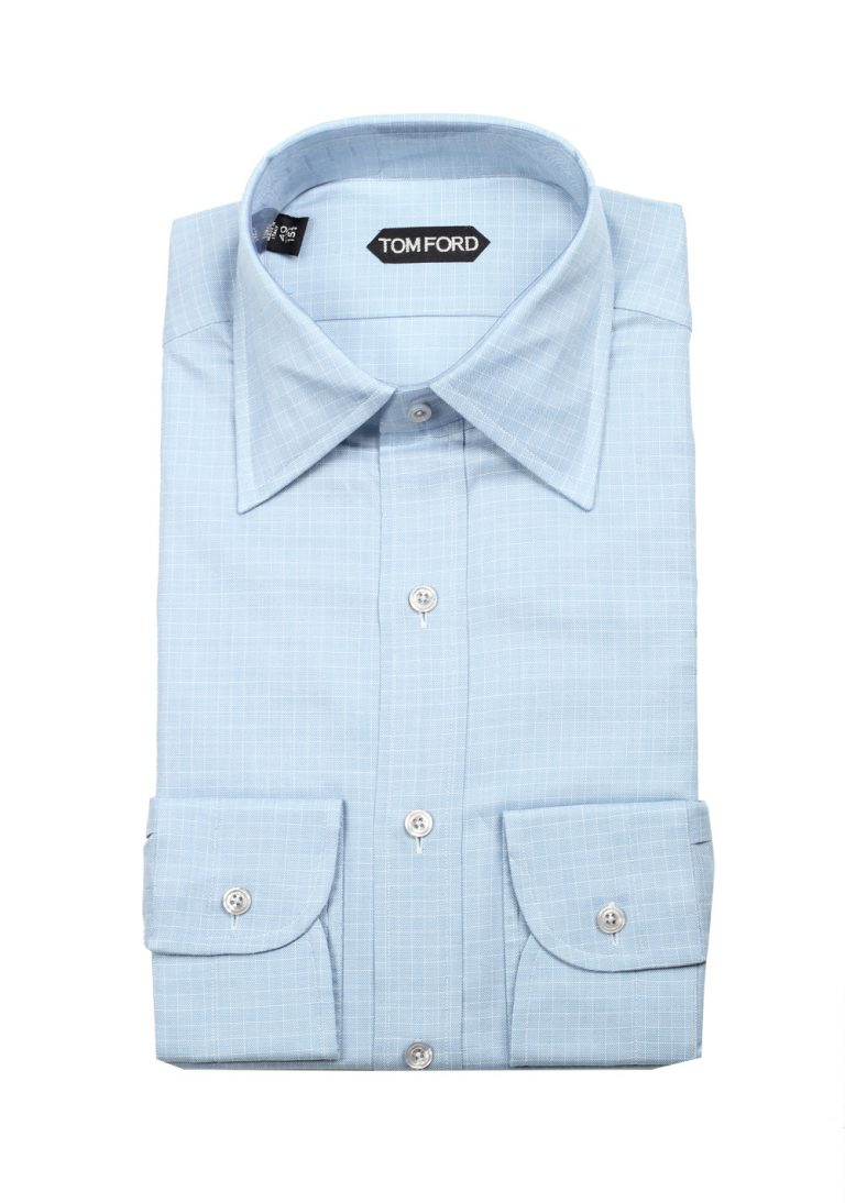 TOM FORD Checked White Blue Dress Shirt Size 40 / 15,75 U.S. - thumbnail | Costume Limité