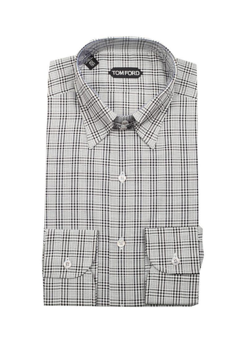 TOM FORD Checked Gray High Collar Dress Shirt Size 40 / 15,75 U.S. - thumbnail | Costume Limité