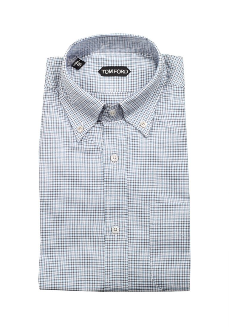 TOM FORD Checked White Blue Button Down Dress Shirt Size 40 / 15,75 U.S. - thumbnail | Costume Limité
