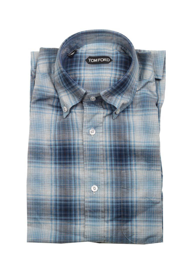 TOM FORD Checked Blue Button Down Dress Shirt Size 40 / 15,75 U.S. - thumbnail | Costume Limité