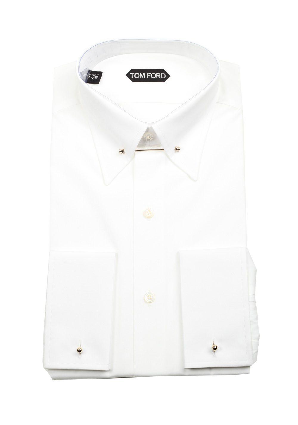 Tom Ford Solid White Poplin Metal Bar Dress Shirt Size 42 165