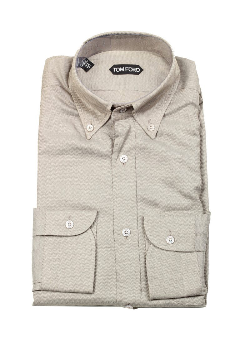 TOM FORD Solid Beige Shirt Size 40 / 15,75 U.S. - thumbnail | Costume Limité