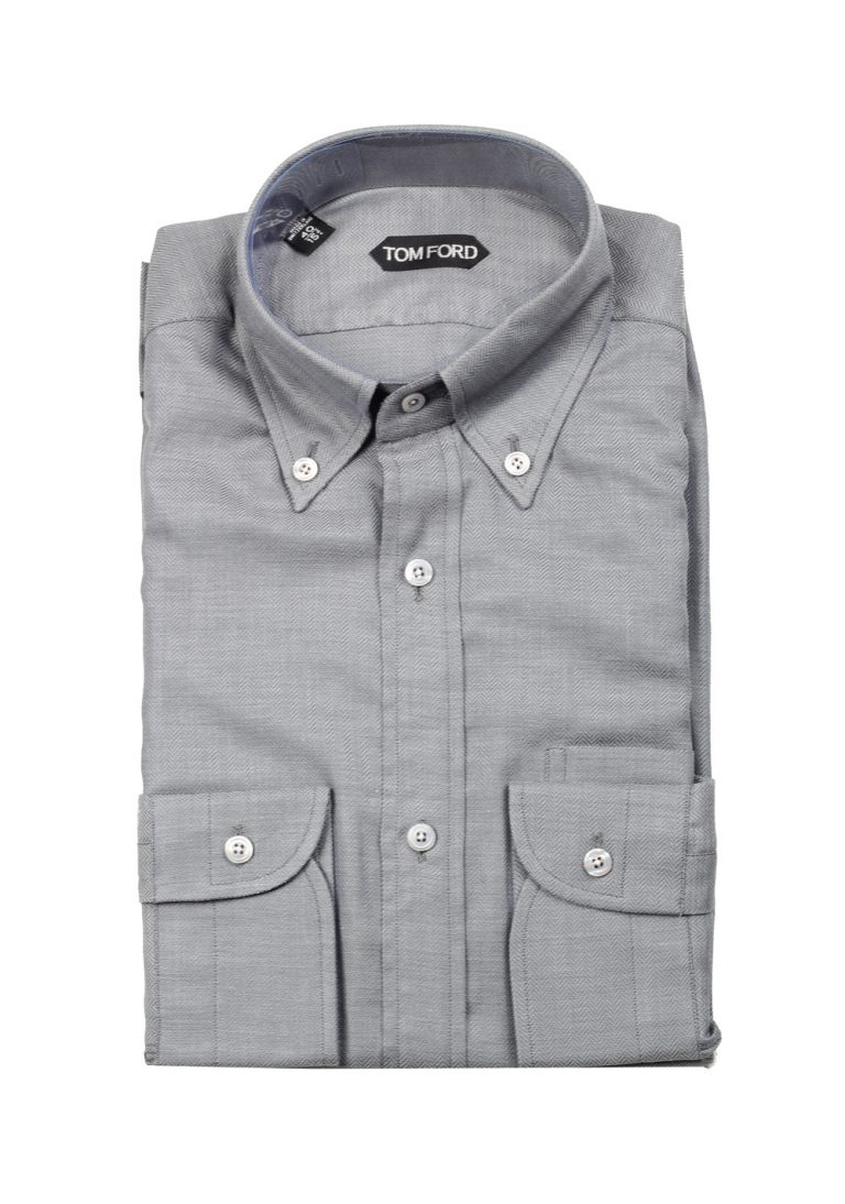 TOM FORD Solid Gray Shirt Size 40 / 15,75 U.S. - thumbnail | Costume Limité