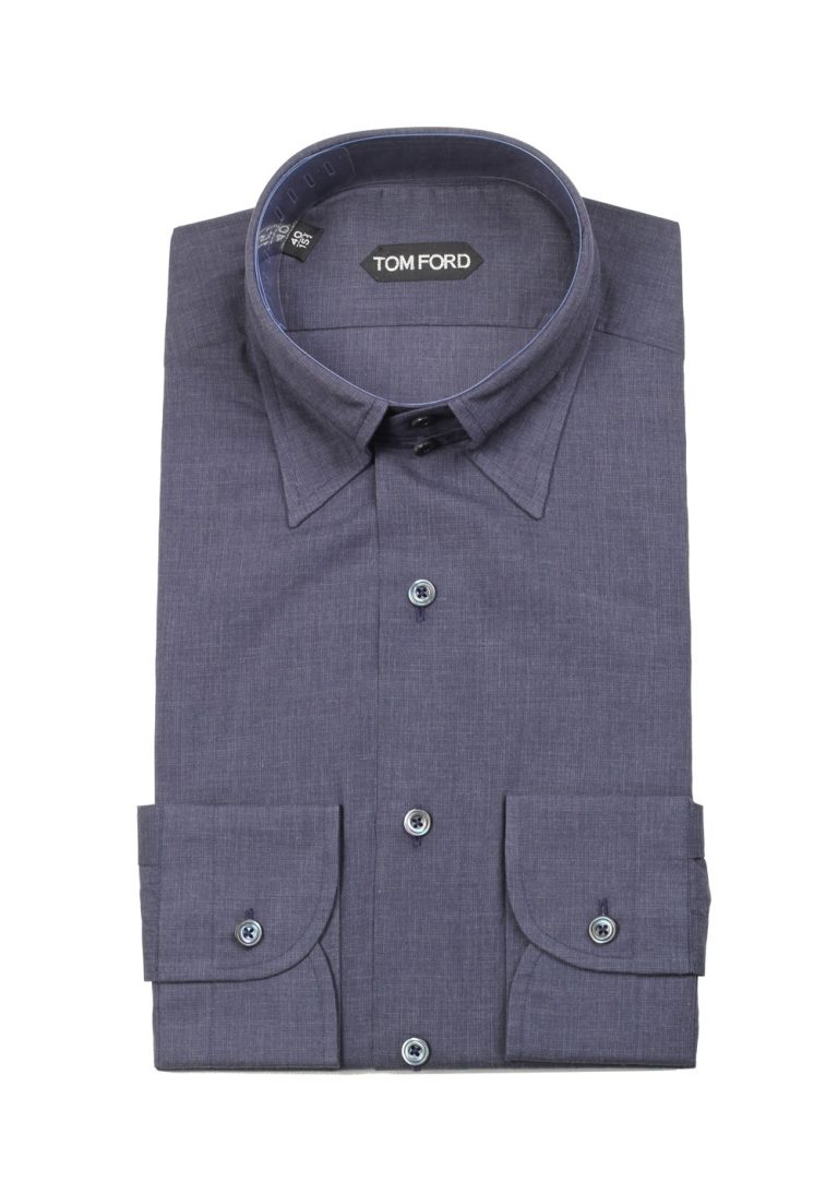 TOM FORD Solid Blue High Collar Dress Shirt Size 40 / 15,75 U.S. - thumbnail | Costume Limité