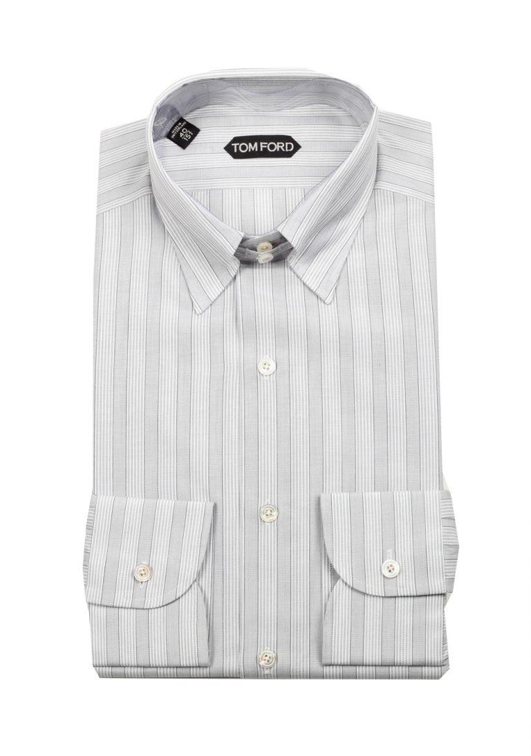 TOM FORD Striped Gray High Collar Dress Shirt Size 40 / 15,75 U.S. - thumbnail | Costume Limité