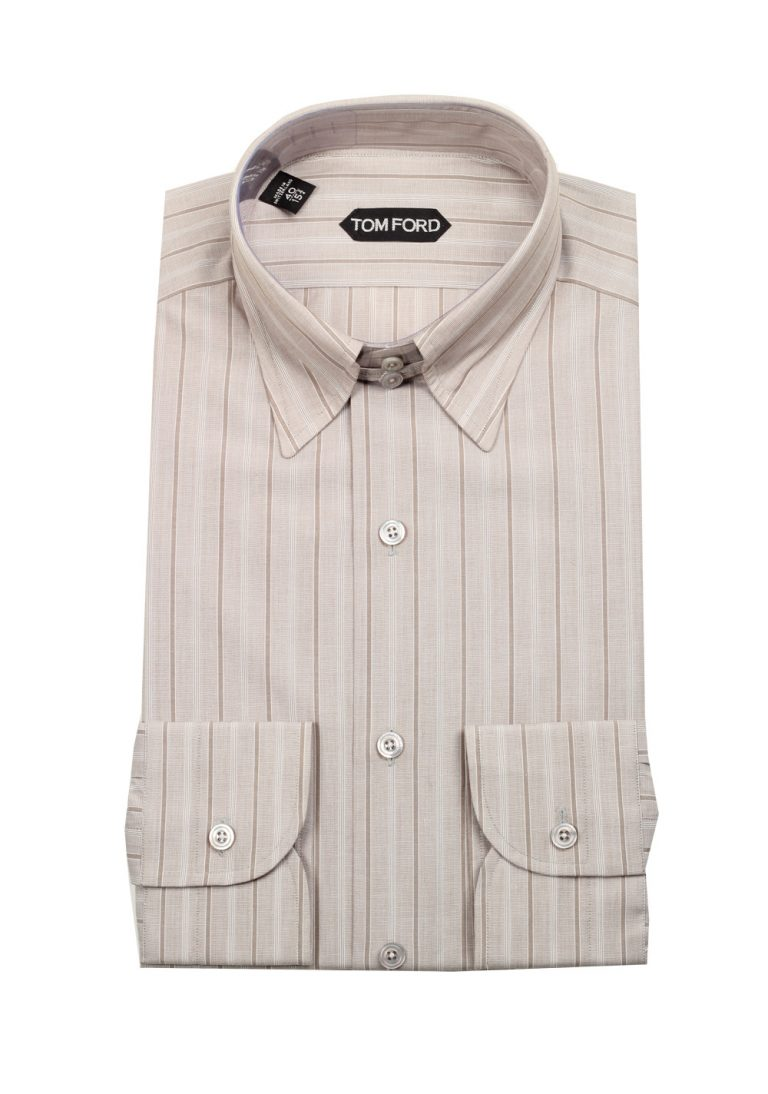 TOM FORD Striped Grayish Beige High Collar Dress Shirt Size 40 / 15,75 U.S. - thumbnail | Costume Limité