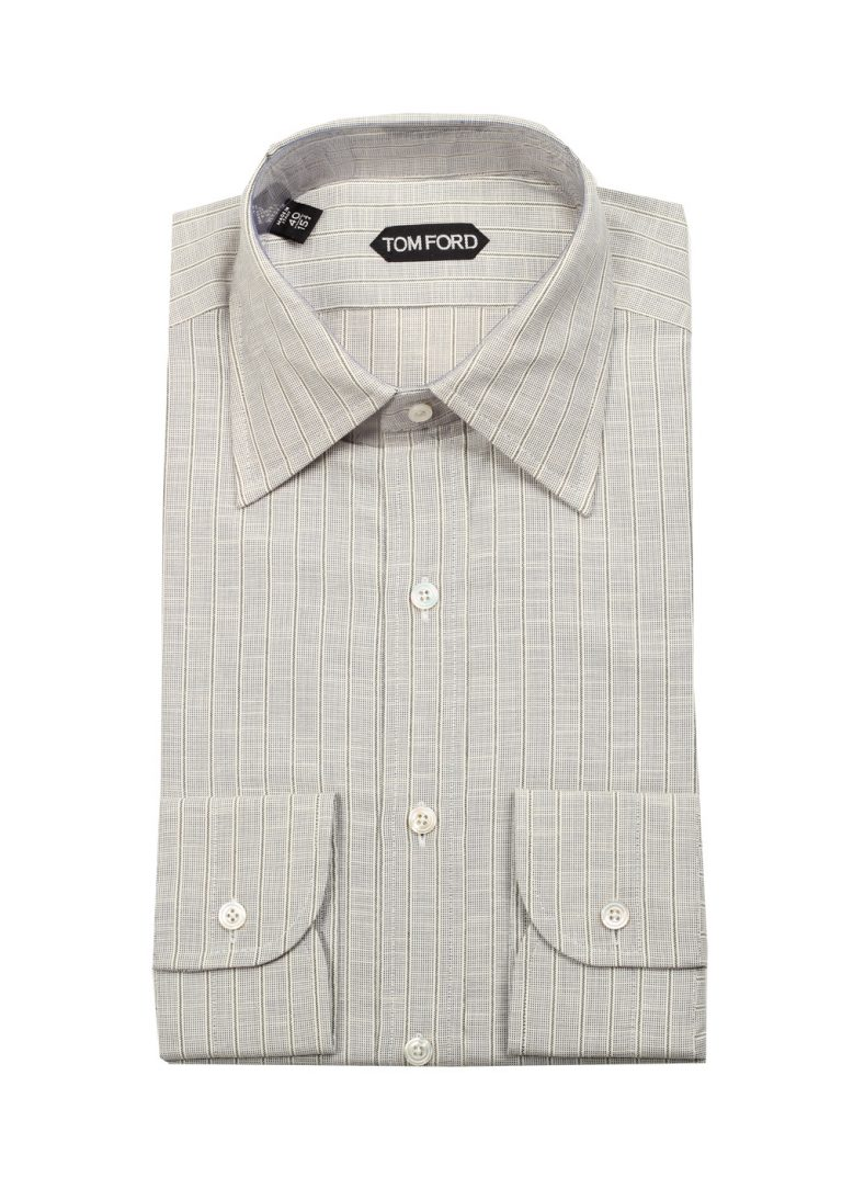 TOM FORD Striped Grayish Beige High Collar Dress Shirt Size 40 / 15,75 U.S. - thumbnail | Costume Limité