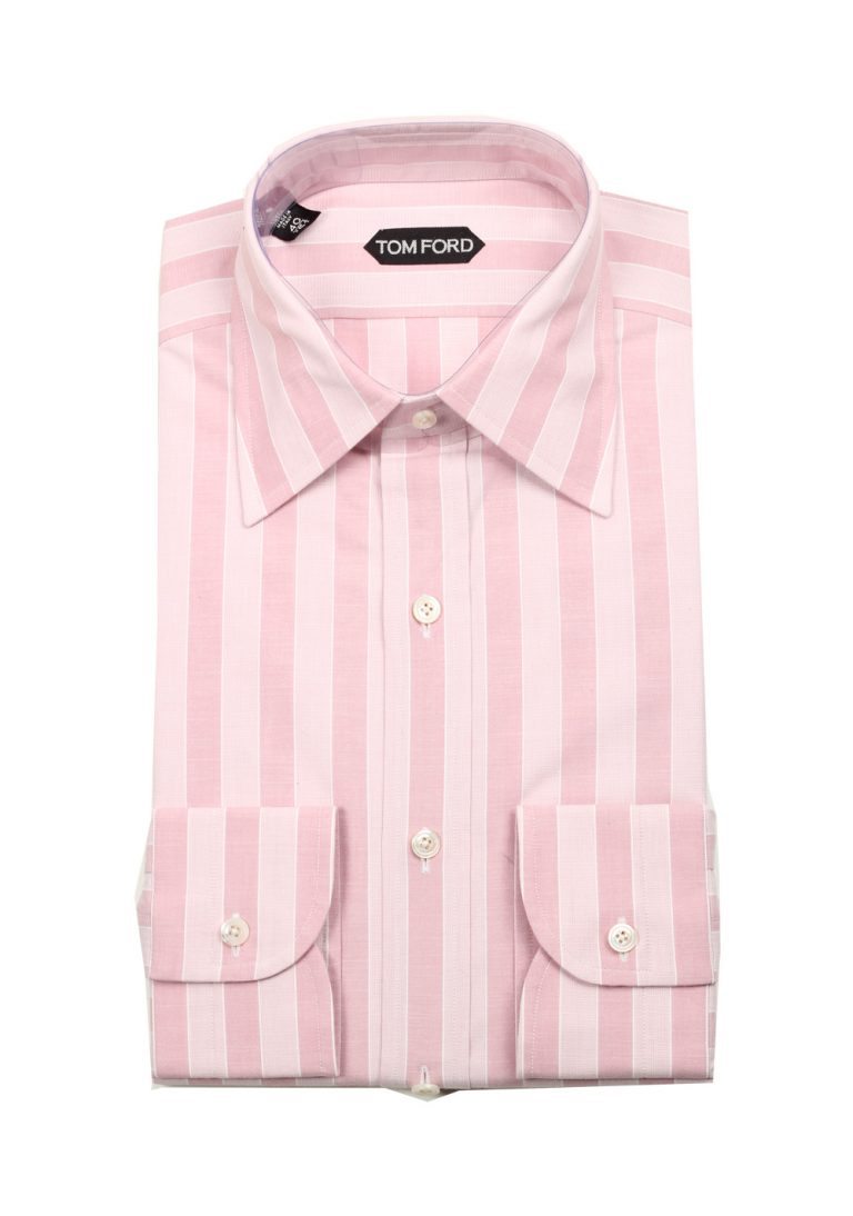 TOM FORD Striped Pink High Collar Dress Shirt Size 40 / 15,75 U.S. - thumbnail | Costume Limité
