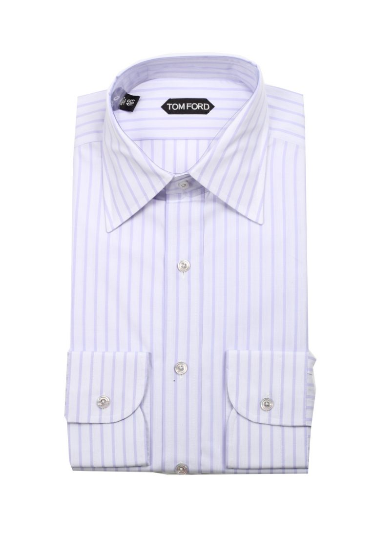 TOM FORD Striped Lilac High Collar Dress Shirt Size 40 / 15,75 U.S. - thumbnail | Costume Limité