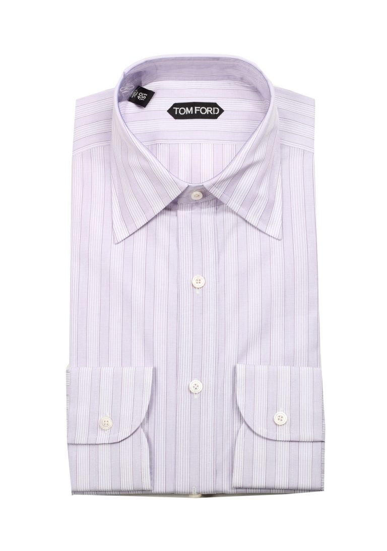 TOM FORD Striped Purple High Collar Dress Shirt Size 40 / 15,75 U.S. - thumbnail | Costume Limité