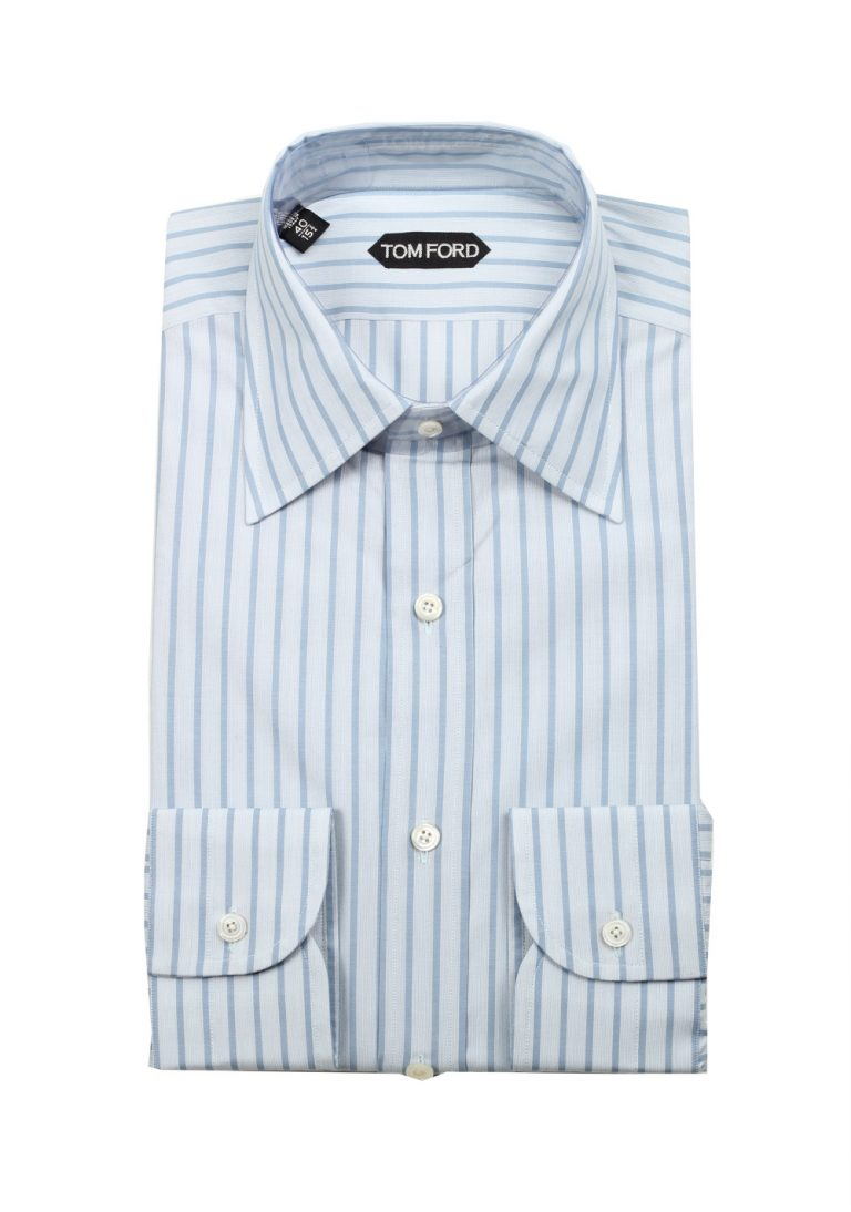 TOM FORD Striped Blue High Collar Dress Shirt Size 40 / 15,75 U.S. - thumbnail | Costume Limité