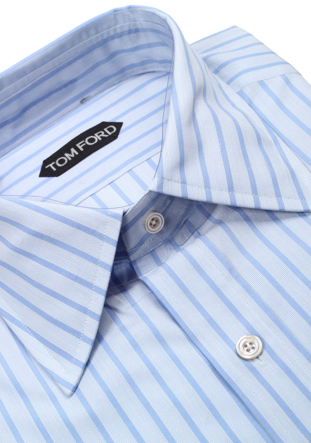 TOM FORD Striped Blue High Collar Dress Shirt Size 40 / 15,75 U.S. | Costume Limité