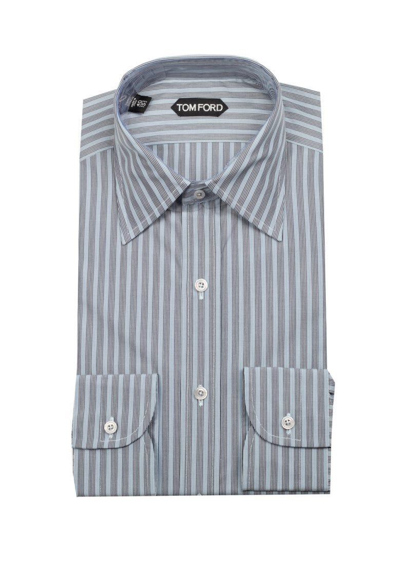 TOM FORD Striped Blue High Collar Dress Shirt Size 40 / 15,75 U.S. - thumbnail | Costume Limité