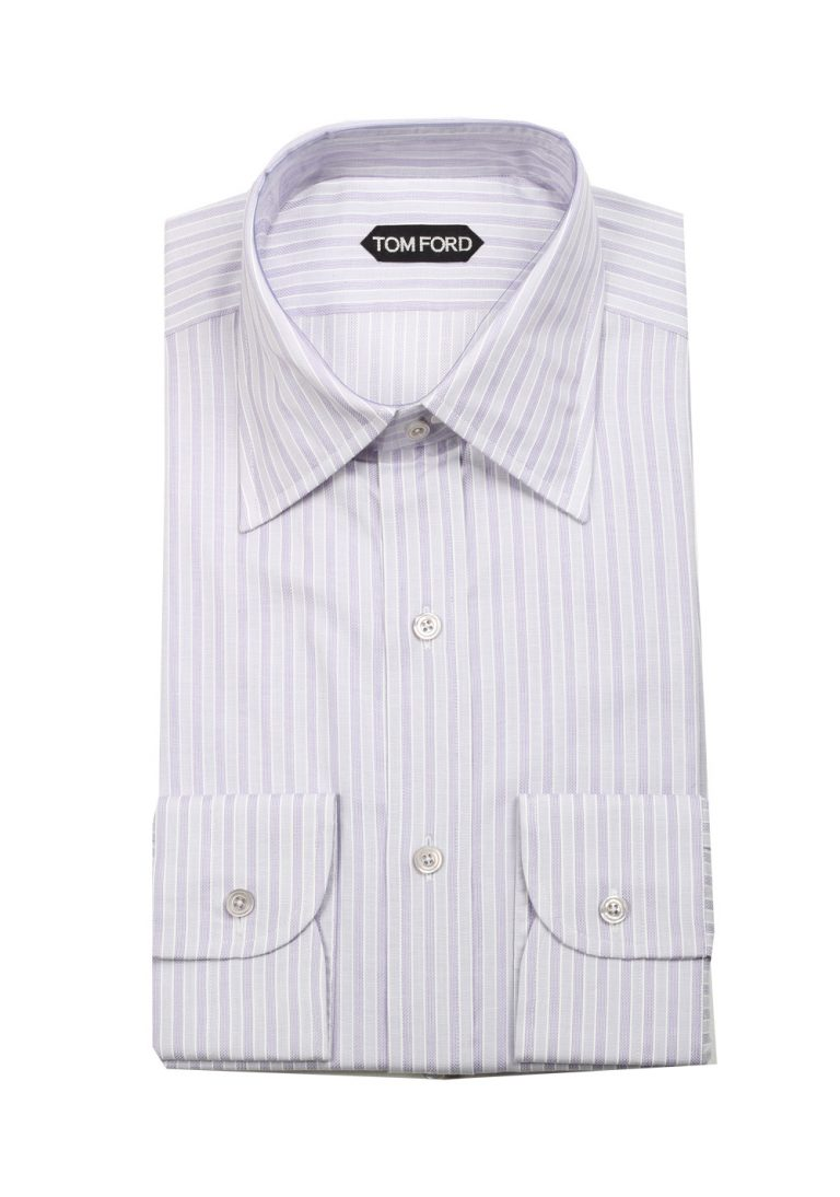 TOM FORD Striped Grayish Purple High Collar Dress Shirt Size 40 / 15,75 U.S. - thumbnail | Costume Limité