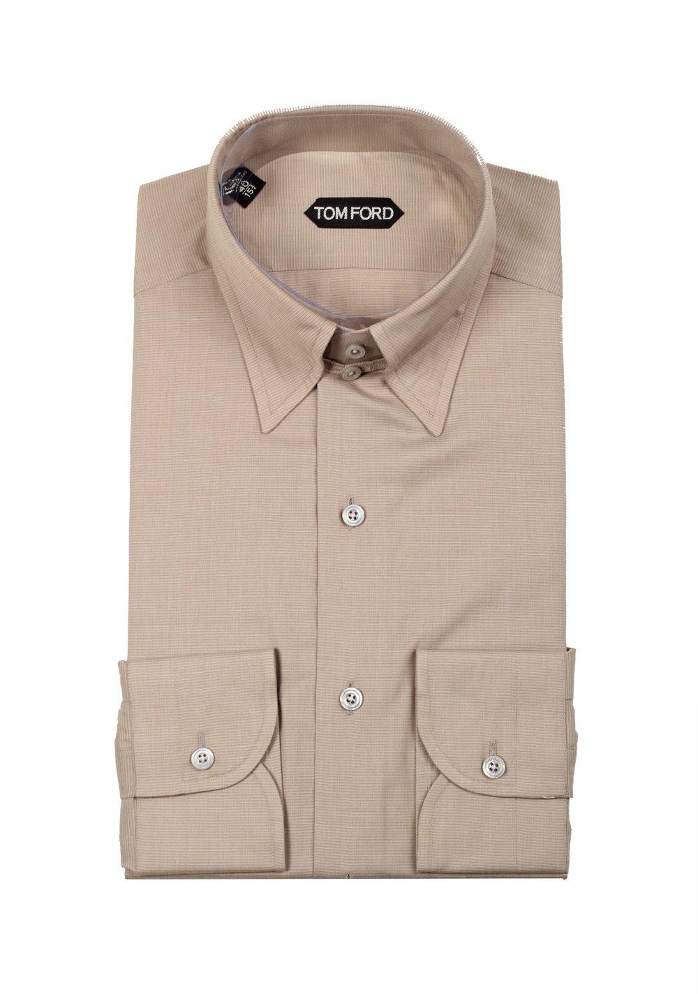 Tom Ford Grayish Beige High Collar Dress Shirt Size 40 1575 Us