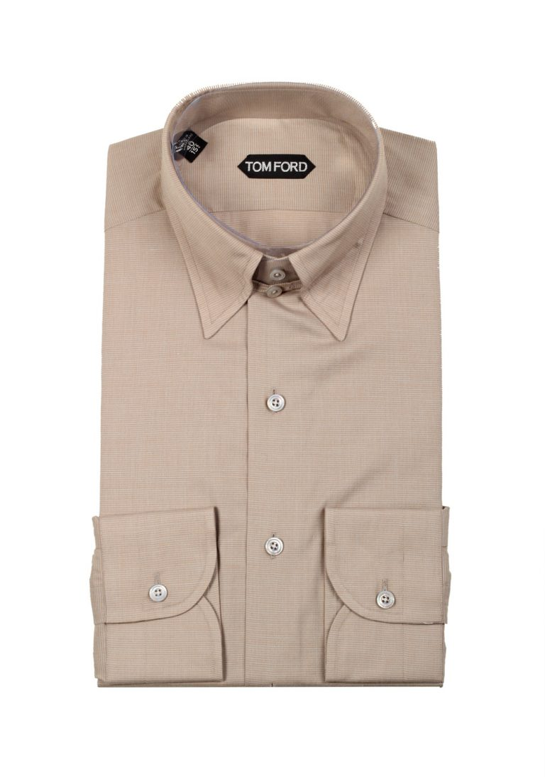 TOM FORD Grayish Beige High Collar Dress Shirt Size 40 / 15,75 U.S. - thumbnail | Costume Limité
