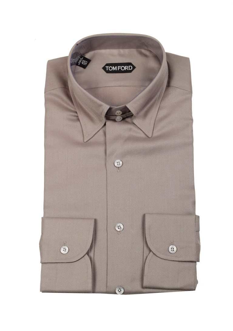 TOM FORD Solid Grayish Beige High Collar Dress Shirt Size 40 / 15,75 U.S. - thumbnail | Costume Limité