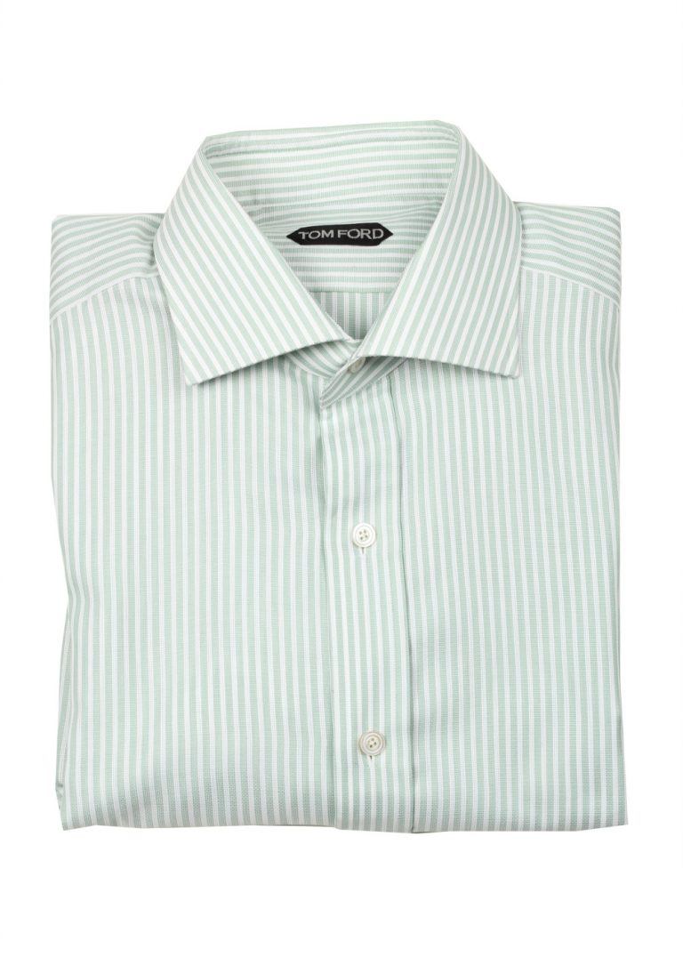 TOM FORD Striped White Green Dress Shirt Size 43 / 17 U.S. - thumbnail | Costume Limité