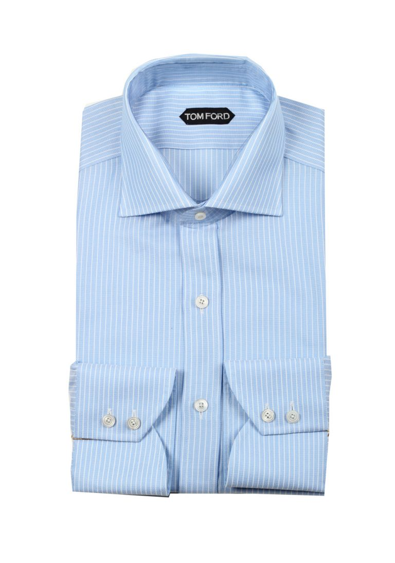 TOM FORD Striped White Blue Dress Shirt Size 43 / 17 U.S. - thumbnail | Costume Limité