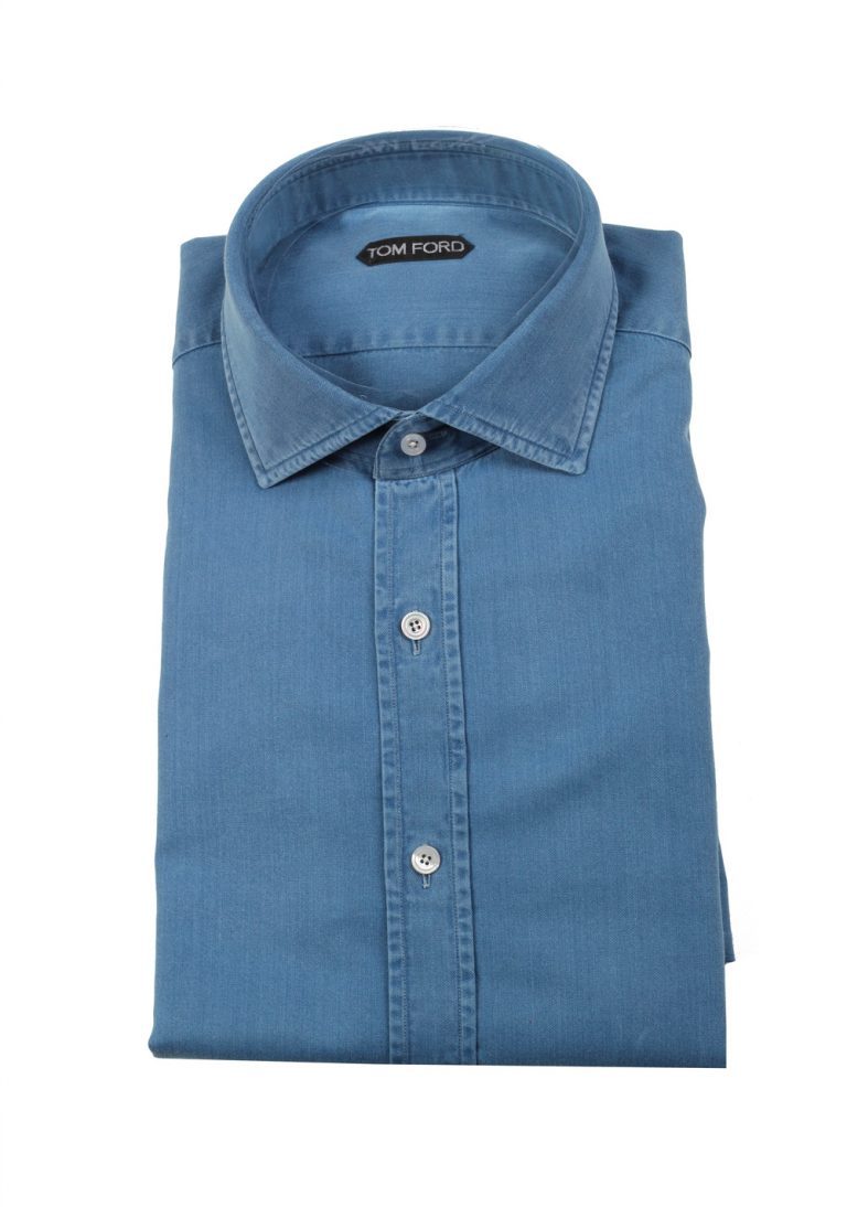 TOM FORD Solid Blue Denim Dress Shirt Size 42 / 16,5 U.S. - thumbnail | Costume Limité