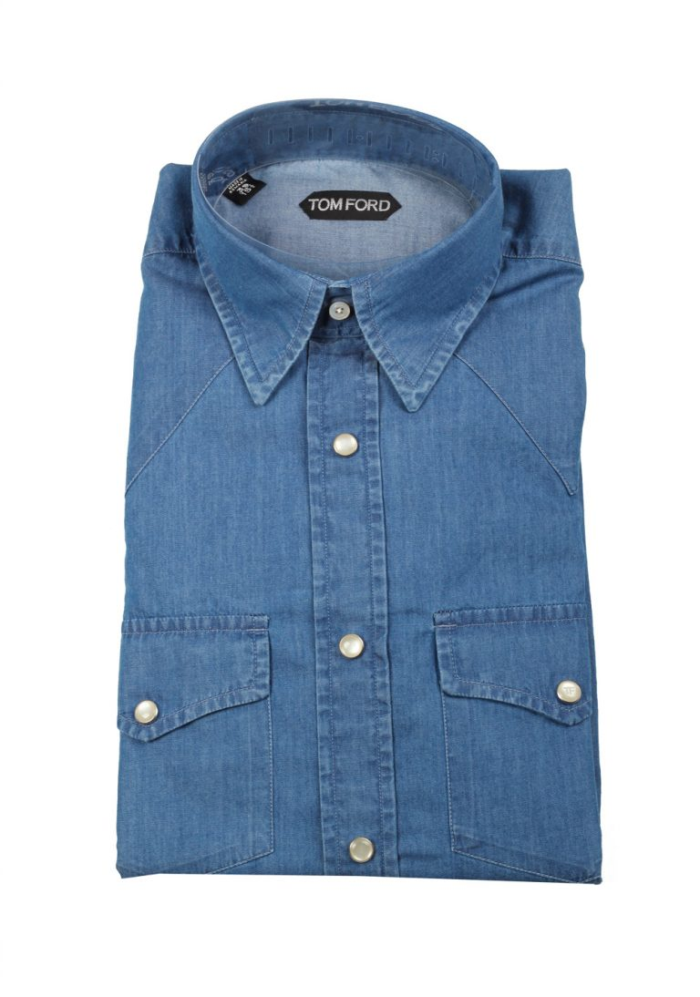 TOM FORD Solid Blue Denim Western Casual Shirt Size 39 / 15,5 U.S. - thumbnail | Costume Limité