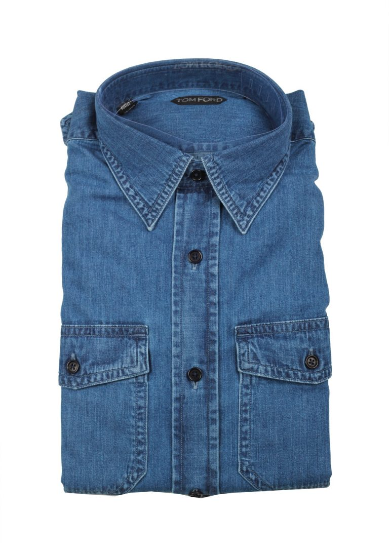 TOM FORD Solid Blue Denim Dress Shirt Size 42 / 16,5 U.S. - thumbnail | Costume Limité