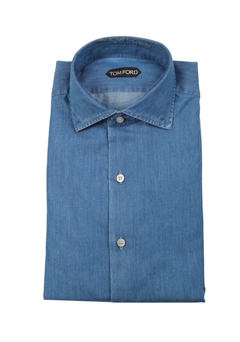 TOM FORD Solid Blue Denim Dress Shirt Size 44 / 17,5 U.S. - thumbnail | Costume Limité