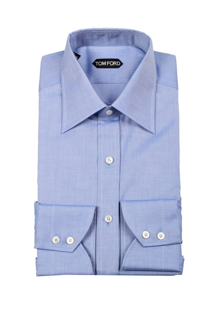 TOM FORD Solid Blue Dress Shirt Size 42 / 16,5 U.S. - thumbnail | Costume Limité