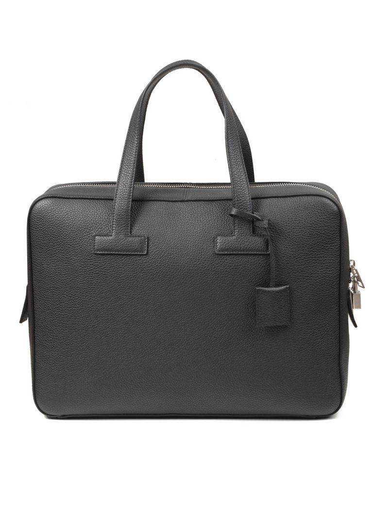 TOM FORD T Line Grained Leather Black Zip Briefcase Bag - thumbnail | Costume Limité