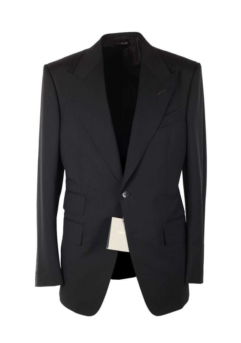 TOM FORD Windsor Solid Black Suit Size 52 / 42R U.S. Wool Fit A - thumbnail | Costume Limité