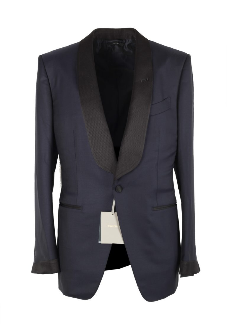 TOM FORD O'Connor Midnight Blue Tuxedo Suit Size 48 / 38R U.S. Shawl Collar Fit Y - thumbnail | Costume Limité