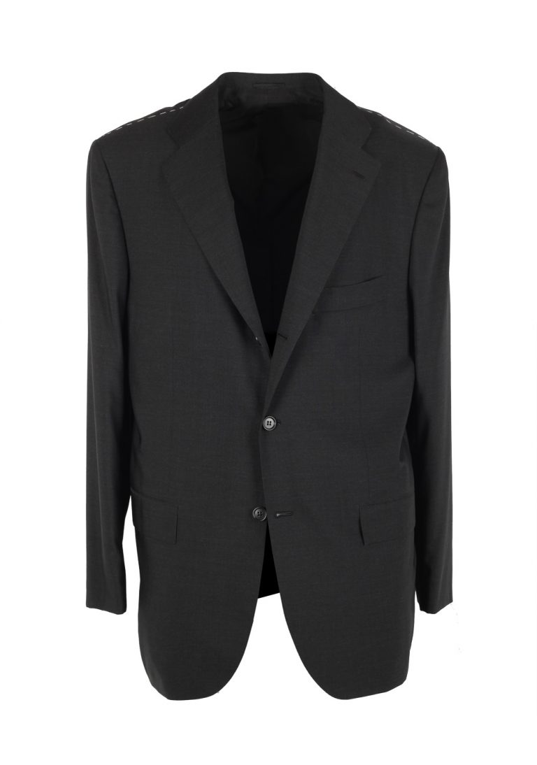 Kiton Solid Charcoal Suit Size 54 / 44R U.S. In Wool Silk - thumbnail | Costume Limité