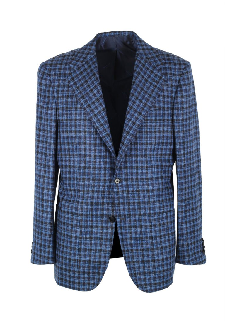 Kiton Checked Blue Capri Sport Coat Size 54 / 44R U.S. In Cashmere Blend - thumbnail | Costume Limité